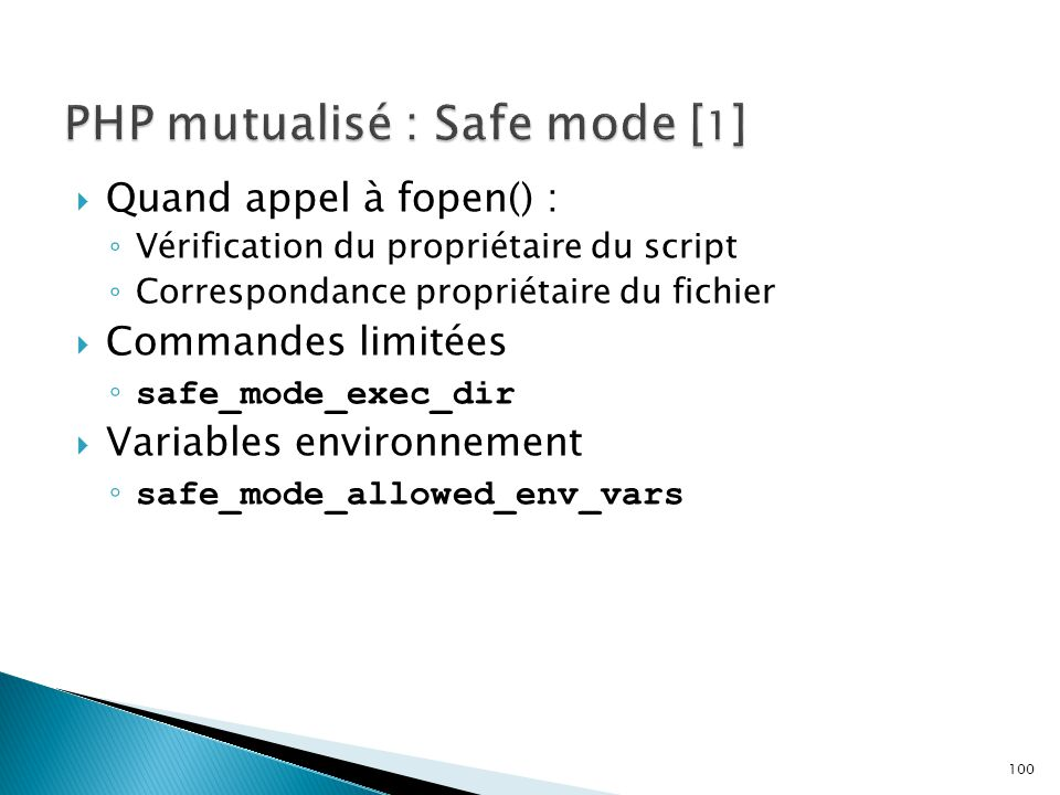 PHP mutualisé : Safe mode [1]